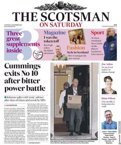 The Scotsman Newspaper Front Page (UK) for 14 November 2020