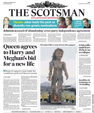 The Scotsman Newspaper Front Page (UK) for 14 January 2020