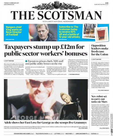 The Scotsman Newspaper Front Page (UK) for 14 February 2017