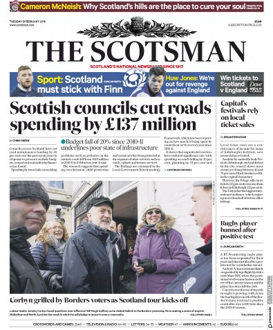The Scotsman Newspaper Front Page (UK) for 14 February 2018