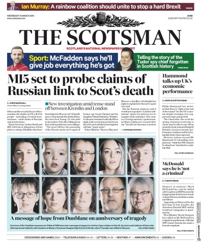 The Scotsman Newspaper Front Page (UK) for 14 March 2018