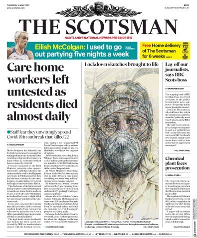 The Scotsman Newspaper Front Page (UK) for 14 May 2020