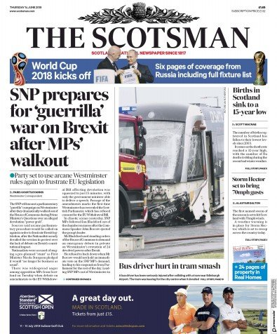 The Scotsman Newspaper Front Page (UK) for 14 June 2018