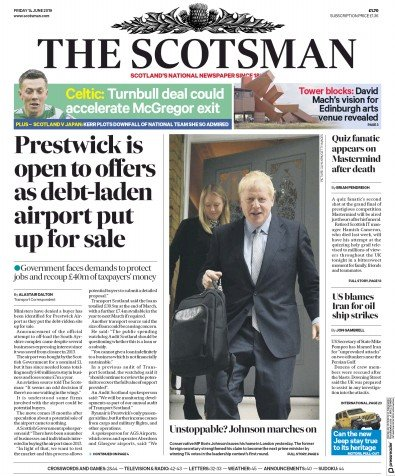 The Scotsman Newspaper Front Page (UK) for 14 June 2019