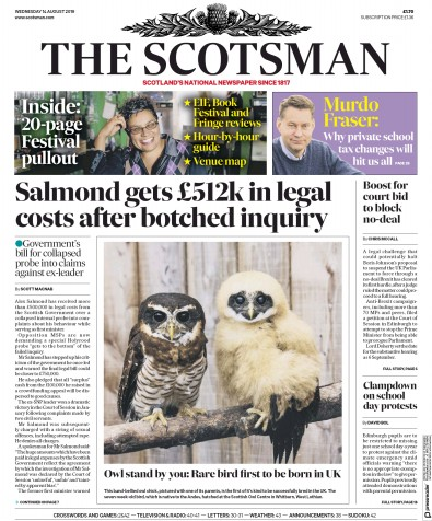 The Scotsman Newspaper Front Page (UK) for 14 August 2019