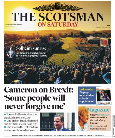 The Scotsman Newspaper Front Page (UK) for 14 September 2019
