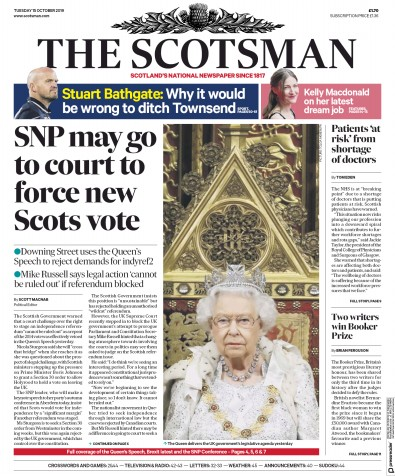 The Scotsman Newspaper Front Page (UK) for 15 October 2019