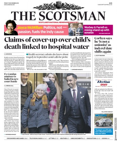 The Scotsman Newspaper Front Page (UK) for 15 November 2019