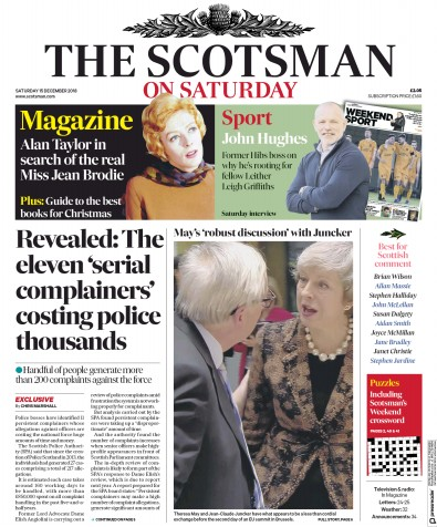 The Scotsman Newspaper Front Page (UK) for 15 December 2018