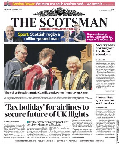 The Scotsman Newspaper Front Page (UK) for 15 January 2020