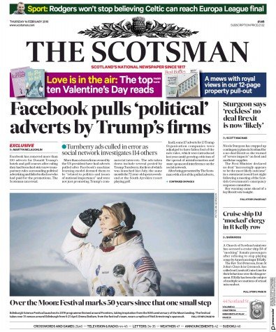 The Scotsman Newspaper Front Page (UK) for 15 February 2019