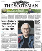 The Scotsman (UK) Newspaper Front Page for 15 May 2020