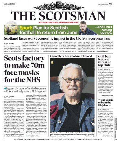 The Scotsman Newspaper Front Page (UK) for 15 May 2020