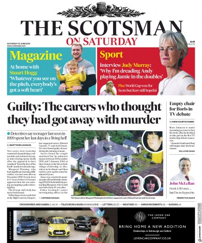 The Scotsman Newspaper Front Page (UK) for 15 June 2019