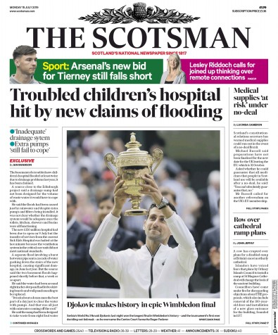 The Scotsman Newspaper Front Page (UK) for 15 July 2019