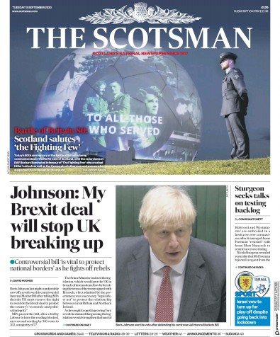 The Scotsman Newspaper Front Page (UK) for 15 September 2020