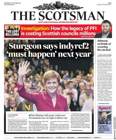 The Scotsman Newspaper Front Page (UK) for 16 October 2019
