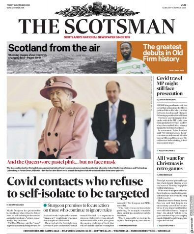 The Scotsman Newspaper Front Page (UK) for 16 October 2020