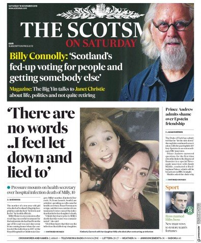 The Scotsman Newspaper Front Page (UK) for 16 November 2019