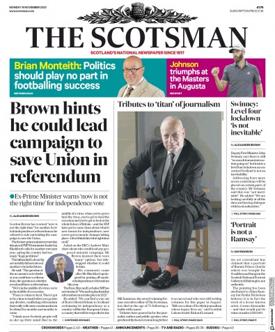 The Scotsman Newspaper Front Page (UK) for 16 November 2020