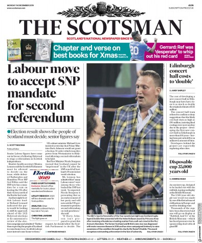 The Scotsman Newspaper Front Page (UK) for 16 December 2019