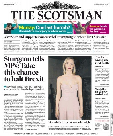 The Scotsman Newspaper Front Page (UK) for 16 January 2019