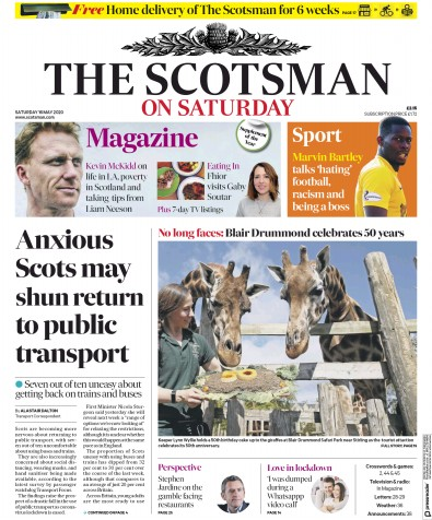 The Scotsman Newspaper Front Page (UK) for 16 May 2020