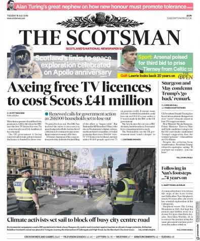 The Scotsman Newspaper Front Page (UK) for 16 July 2019
