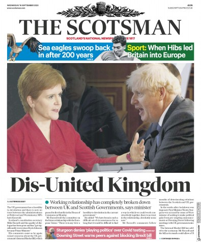 The Scotsman Newspaper Front Page (UK) for 16 September 2020