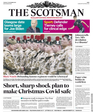 The Scotsman Newspaper Front Page (UK) for 17 November 2020