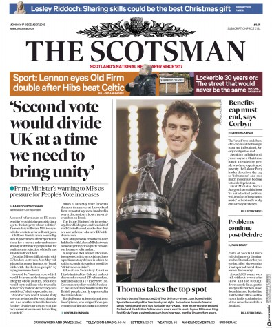 The Scotsman Newspaper Front Page (UK) for 17 December 2018