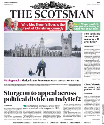 The Scotsman Newspaper Front Page (UK) for 17 December 2019