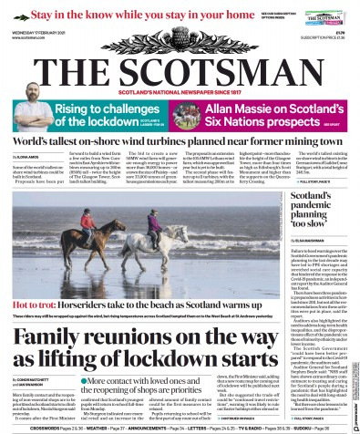 The Scotsman Newspaper Front Page (UK) for 17 February 2021
