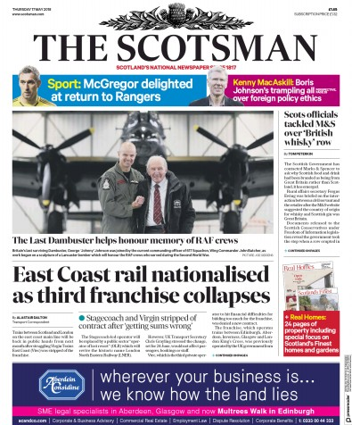 The Scotsman Newspaper Front Page (UK) for 17 May 2018