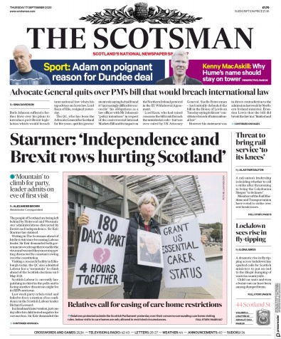 The Scotsman Newspaper Front Page (UK) for 17 September 2020