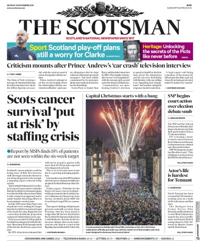 The Scotsman Newspaper Front Page (UK) for 18 November 2019