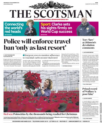 The Scotsman Newspaper Front Page (UK) for 18 November 2020