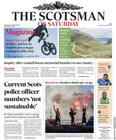 The Scotsman Newspaper Front Page (UK) for 18 January 2020