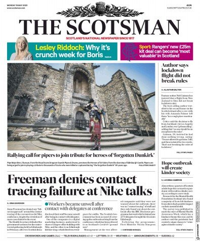 The Scotsman Newspaper Front Page (UK) for 18 May 2020