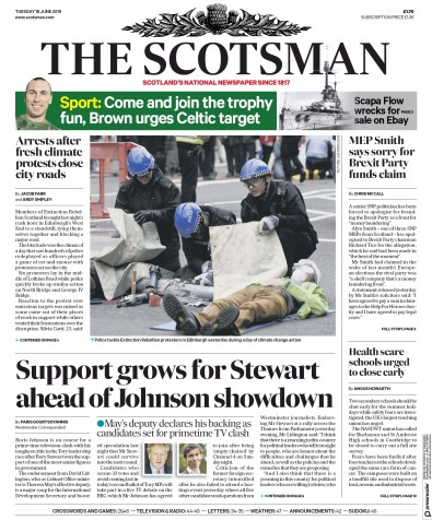 The Scotsman Newspaper Front Page (UK) for 18 June 2019