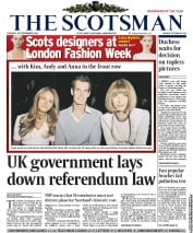 The Scotsman Newspaper Front Page (UK) for 18 September 2012