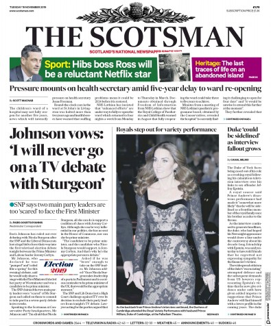 The Scotsman Newspaper Front Page (UK) for 19 November 2019