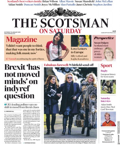 The Scotsman Newspaper Front Page (UK) for 19 January 2019