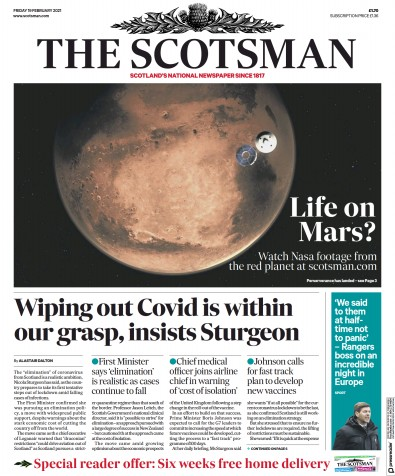 The Scotsman Newspaper Front Page (UK) for 19 February 2021