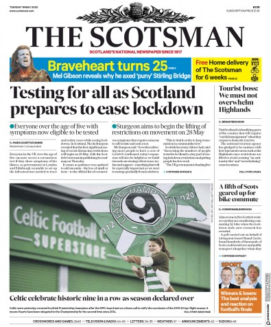 The Scotsman Newspaper Front Page (UK) for 19 May 2020