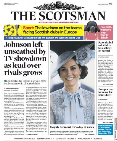 The Scotsman Newspaper Front Page (UK) for 19 June 2019