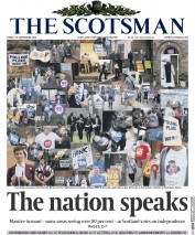 The Scotsman (UK) Newspaper Front Page for 19 September 2014