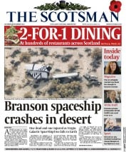 The Scotsman (UK) Newspaper Front Page for 1 November 2014