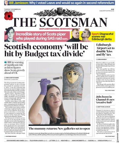 The Scotsman Newspaper Front Page (UK) for 1 November 2018