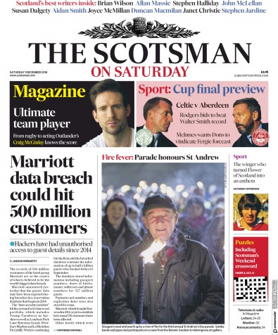 The Scotsman Newspaper Front Page (UK) for 1 December 2018